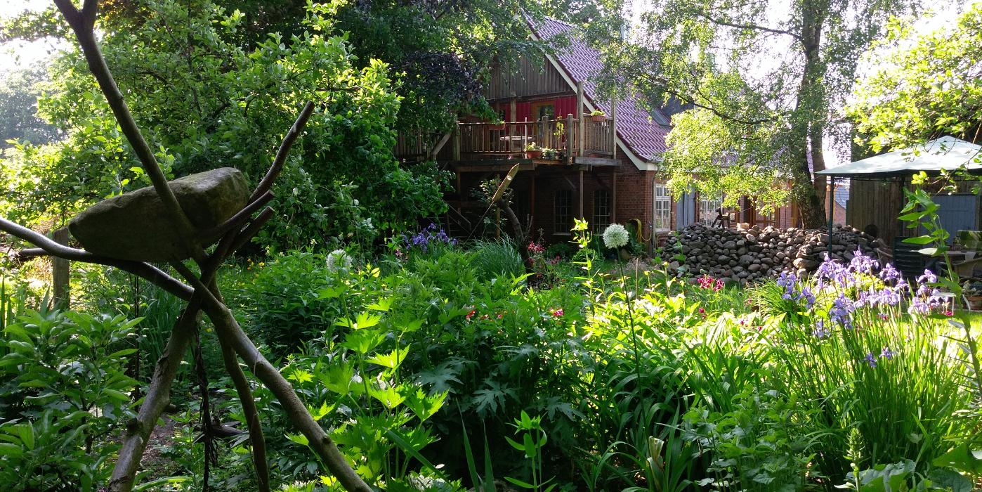 Genießen Sie den Blick in den grünen Garten.